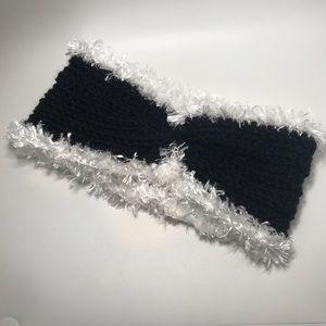 Black Headband Ear Warmer OOAK handcrafted